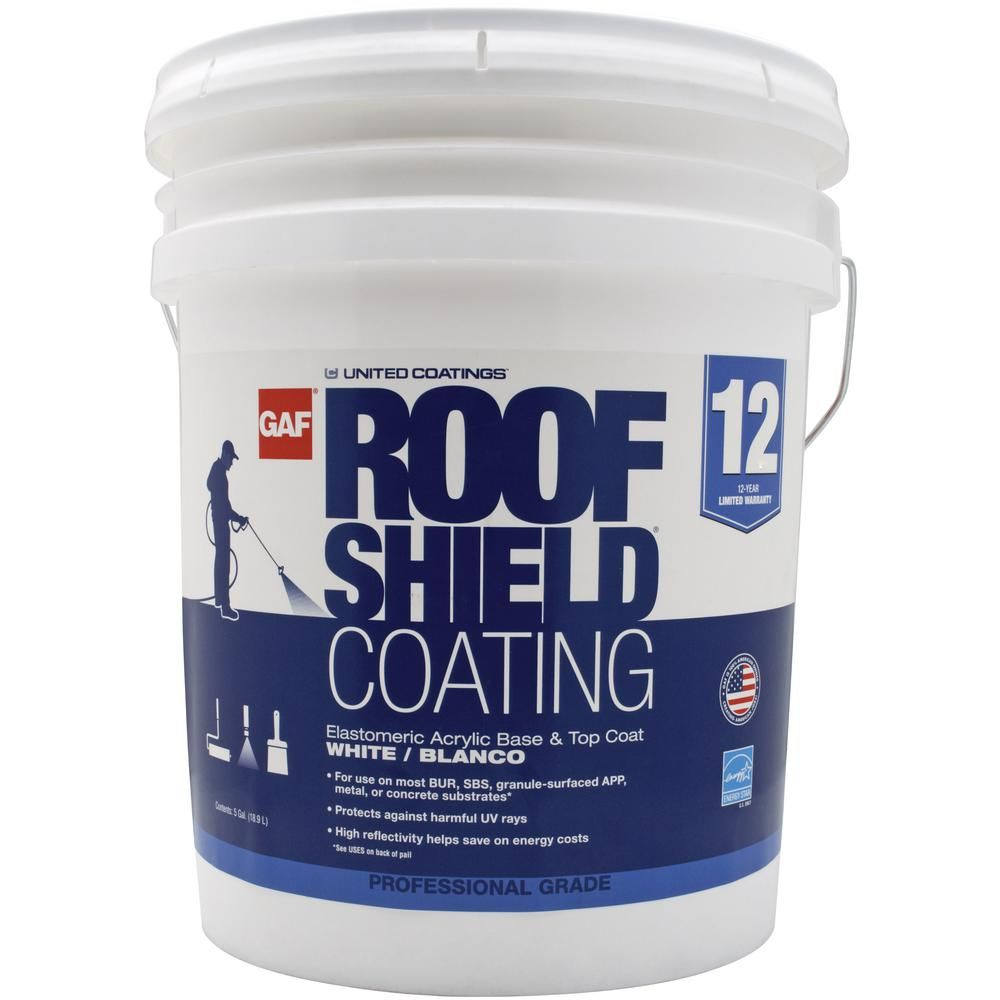 Gaf Roofshield Top Coat 5 Gal White Acrylic Reflective Elastomeric Roof Coating 12 Year Limited Warranty 890333920 The Home Depot In 2020 Roof Coating Elastomeric Roof Coating Polycarbonate Roof Panels