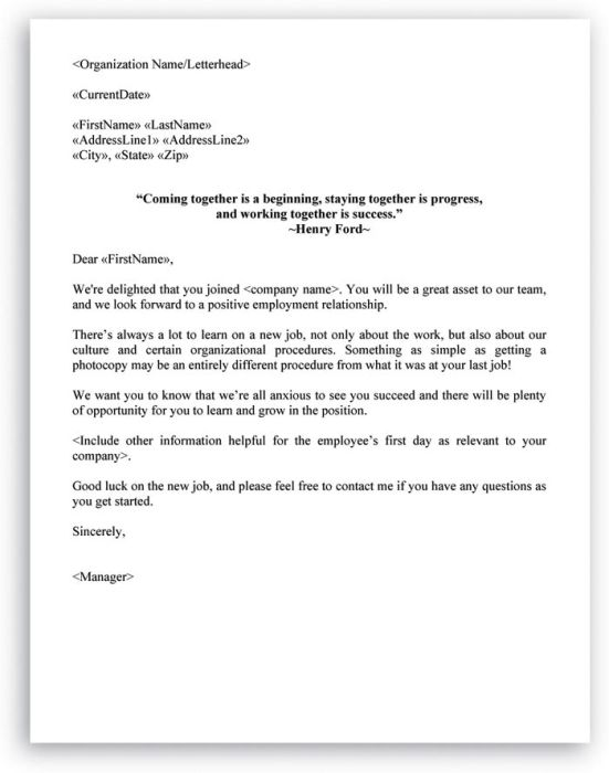 Welcome Letter Format for New Employee Letter example, Filing and
