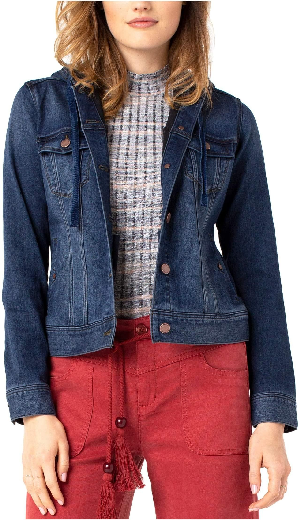 Self Hooded Jean Jacket By Liverpool 119 00 Style Sanders Red Denim Jacket Hooded Denim Jacket Denim Jacket [ 2213 x 1284 Pixel ]