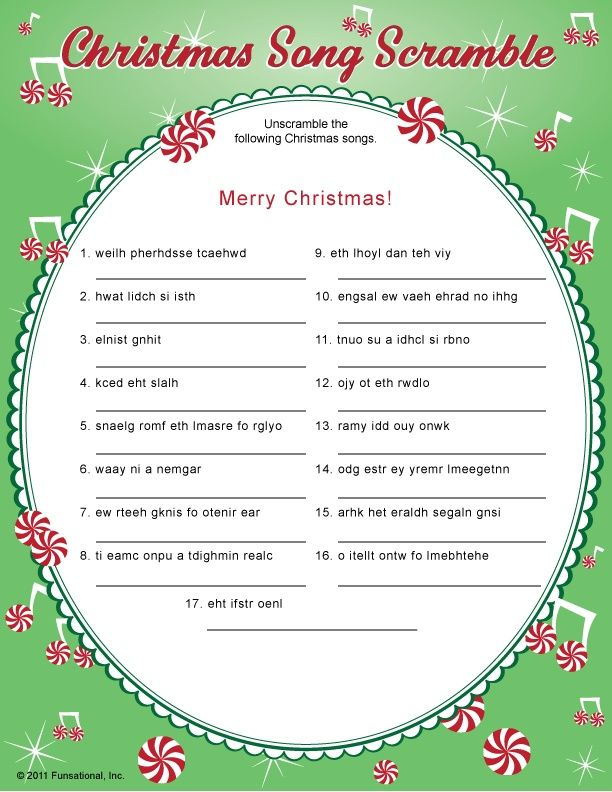 crazy christmas carols printable | Knowledge, Gaming and Free ...