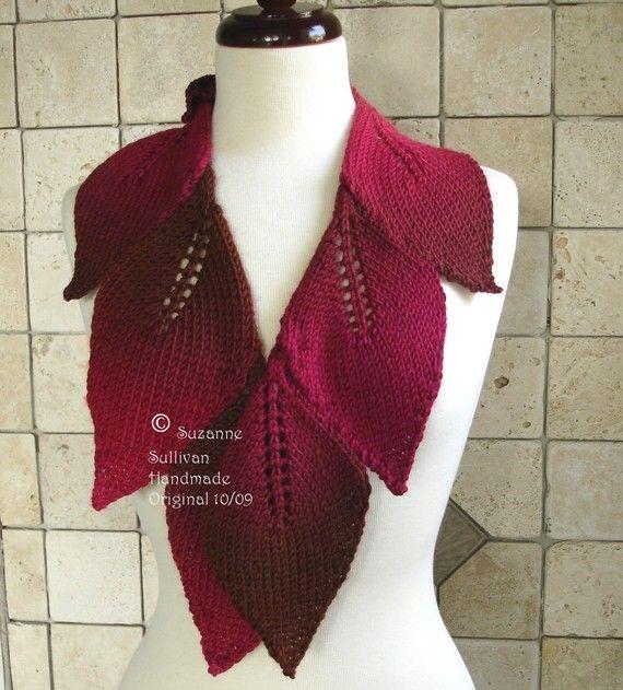 Leaf Wrap Scarf, Hand knitted, Tonal Raspberry and Chocolate Leaf ...
