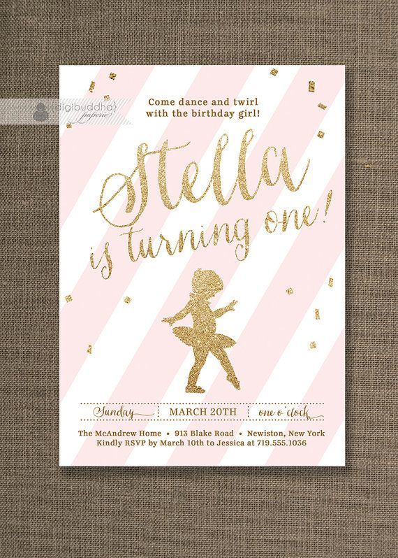 Pink gold glitter birthday invitation ballerina ballet confetti pink gold glitter birthday party invitation with tiny dancer ballerina and pink stripes ballet baby girl first birthday invitation by digibuddhapaperie filmwisefo