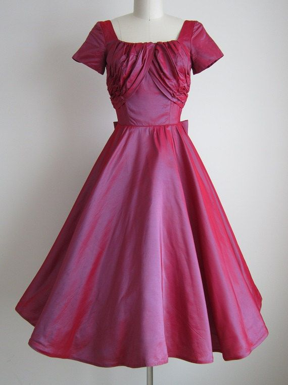 CLEARANCE 1950s Party Dress / Vintage 1950s Red Formal Dress ...
