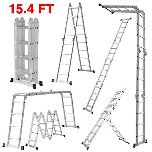 Cheap Finether 15 4ft Heavy Duty Multi Purpose Aluminum Folding Extension Ladder With Safety Locking Hinges 330lb Capacity New Non Slip Mat And Wheels For Free Ladder Folding Ladder Locking Hinge
