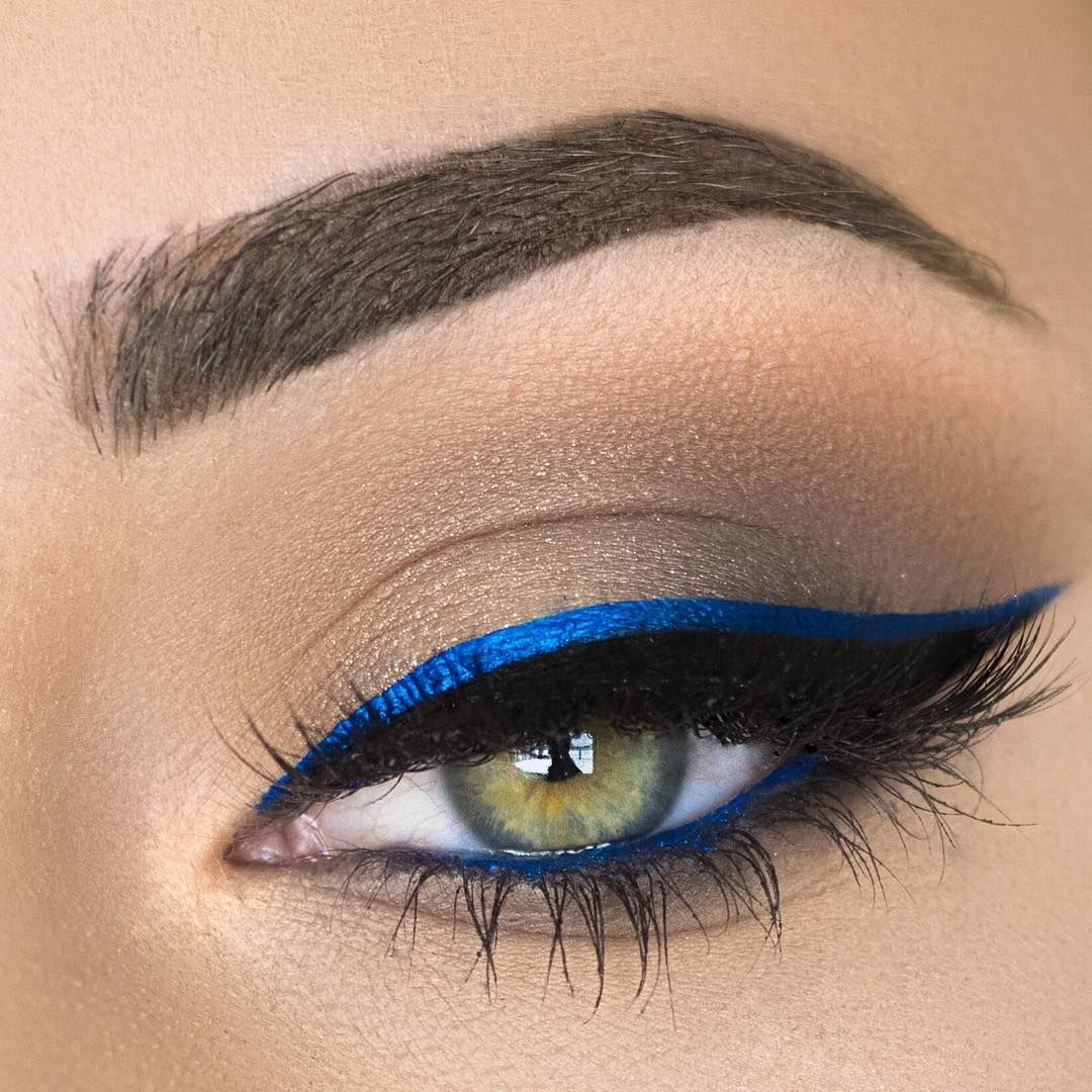 Electric Blue Black Winged Double Liner Blue On The Lower