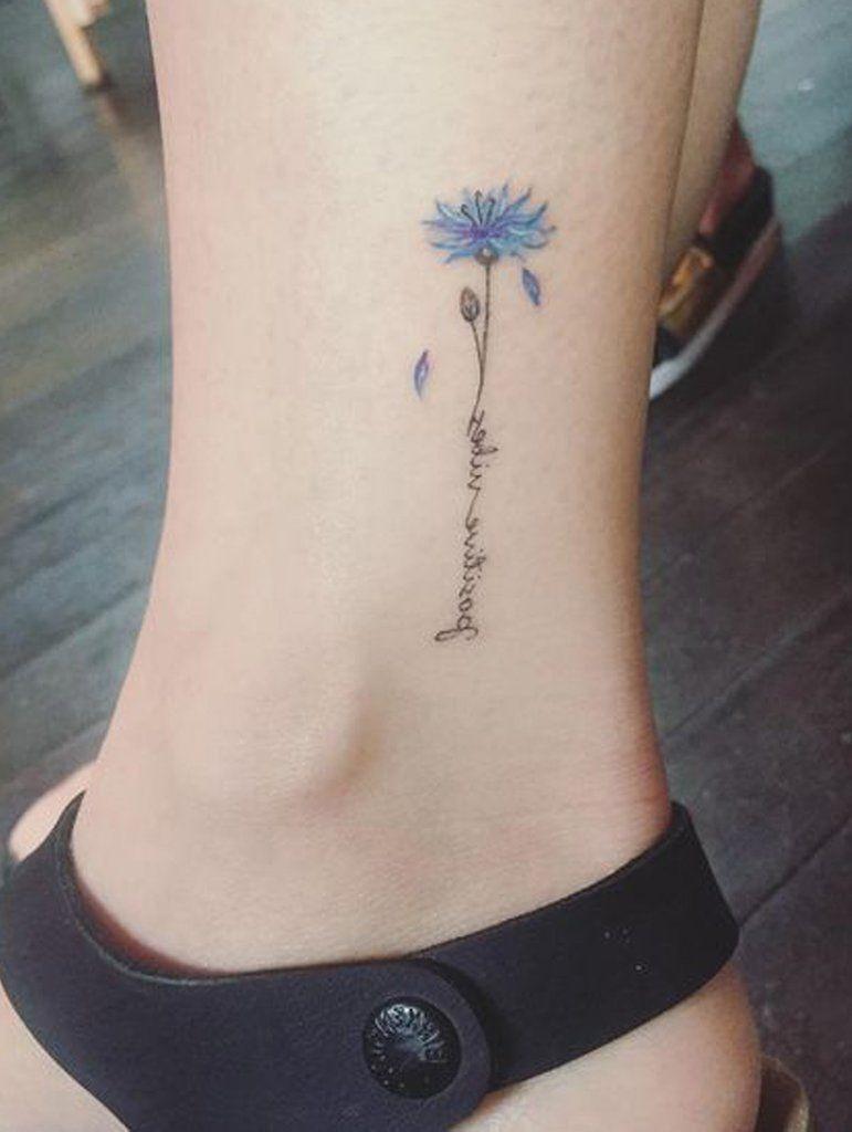 7d59294e8 Tiny Minimalist Simple Watercolor Blue Script Quote Tattoo Ideas for Women  - Ideas de tatuaje de flores para mujeres - www.MyBodiArt.com
