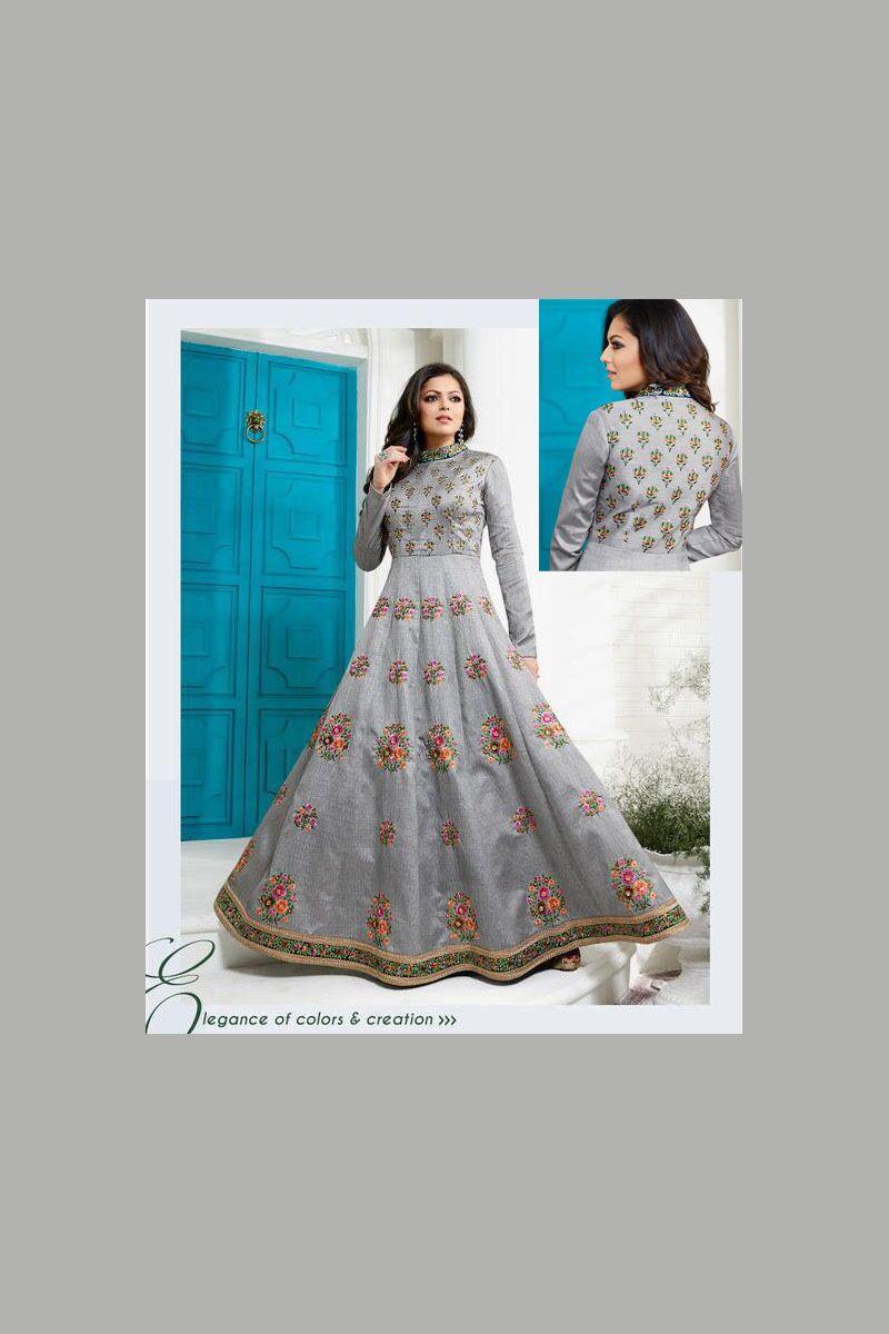 Grey Celebrity Special Heavy Designer Wedding Wear Anarkali Suits ...