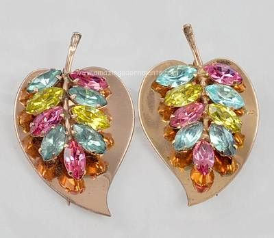 Lavish Vintage Signed CORO Sterling and Multi- colored Rhinestone Clips