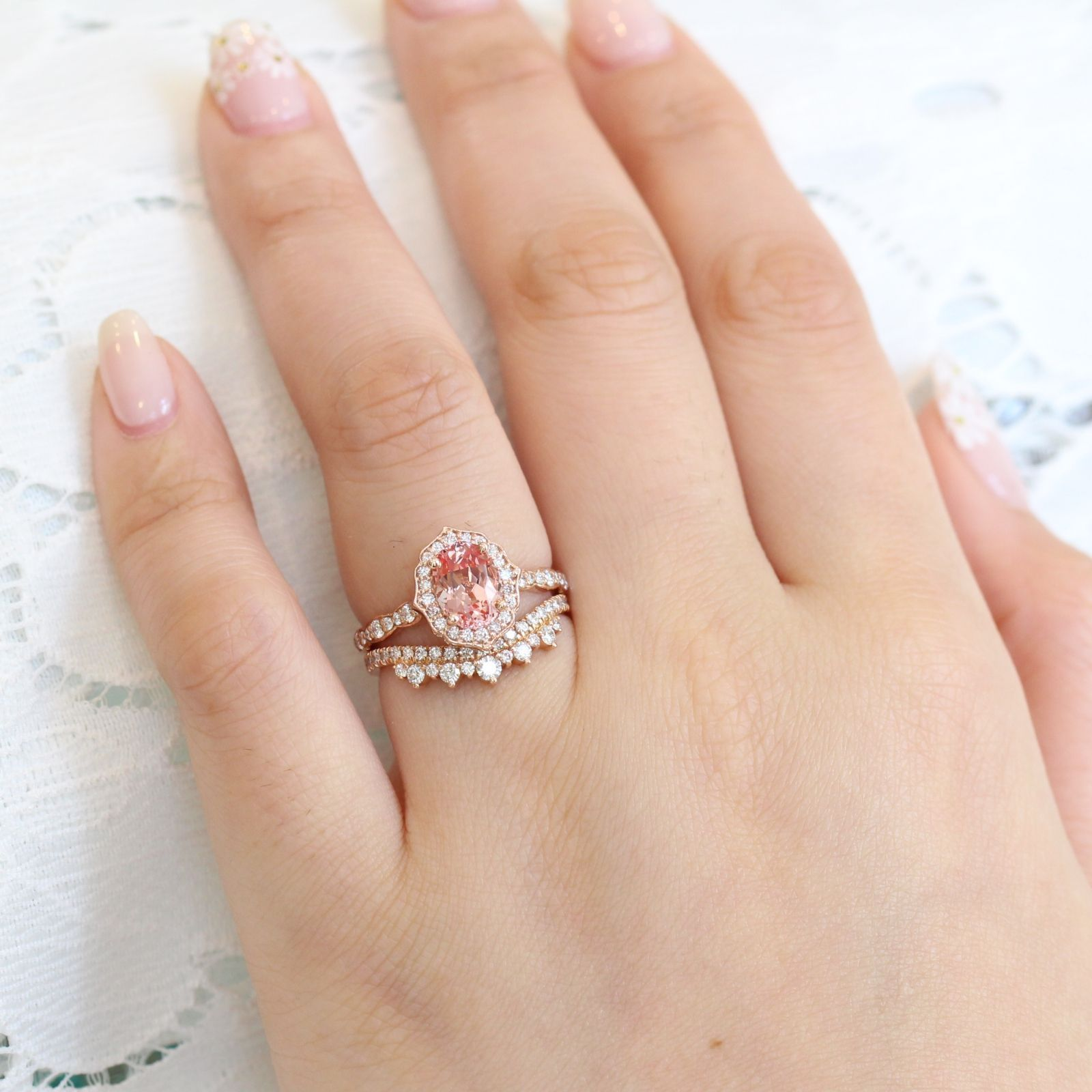 Oval Vintage Floral Champagne Peach Sapphire Engagement