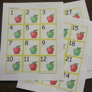 Calendar Cards  Free Samples Of Apples Ab Pattern And Sports Abc