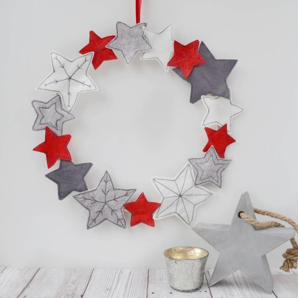 Handmade Embroidered Felt Star Wreath By Pins And Needles Notonthehighstreet Com Christmas Wreaths Diy Xmas Crafts Crochet Christmas Wreath