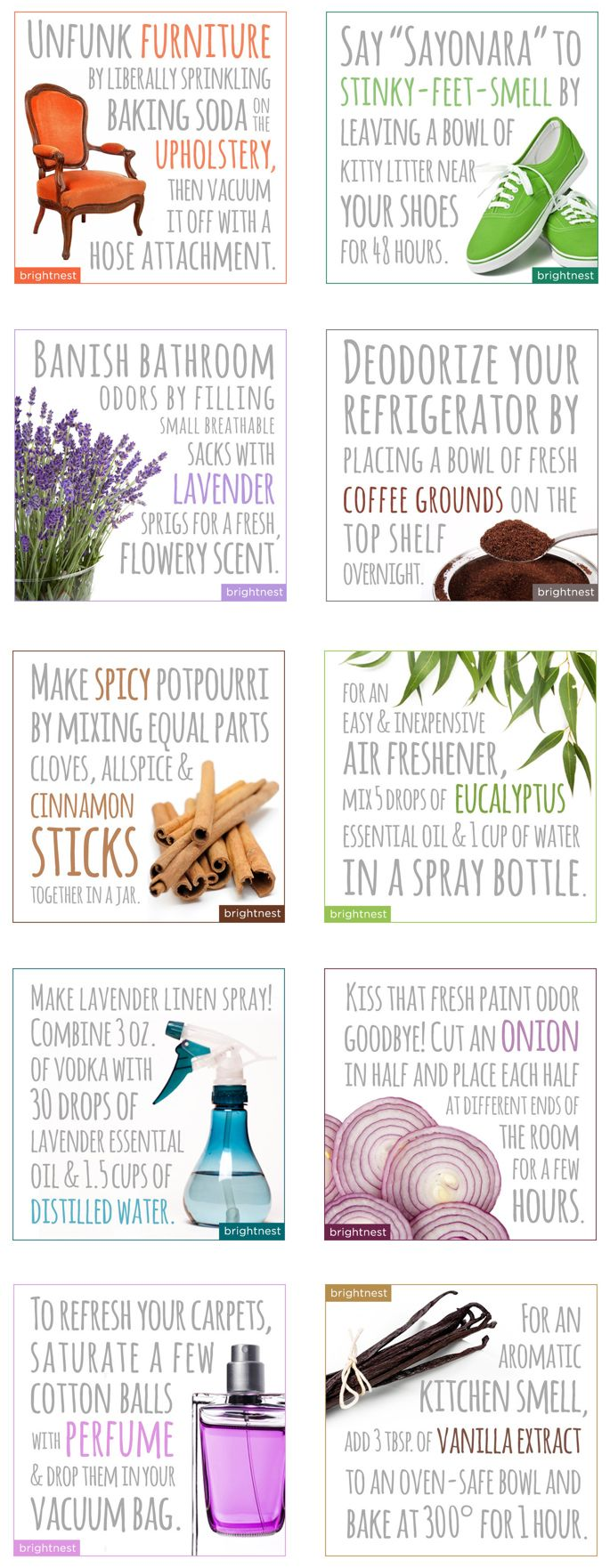 Cleaning your house with essential oils. Simple home-deodorizer tricks to clean furniture, get rid of stinky feet smells, make a room smell better, deodorize your refrigerator, make potpourri, make an air freshener, and more!