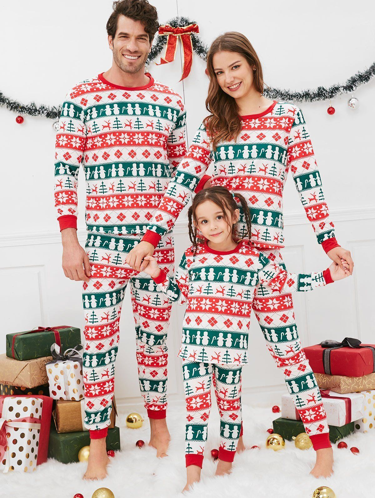 Christmas Geometric Pattern Family Pajama Sets Multi
