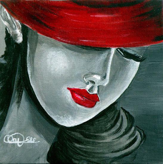 Obra De Arte. Francine Vaysse. mujer con sombrero rojo.  9fe96f8fe07