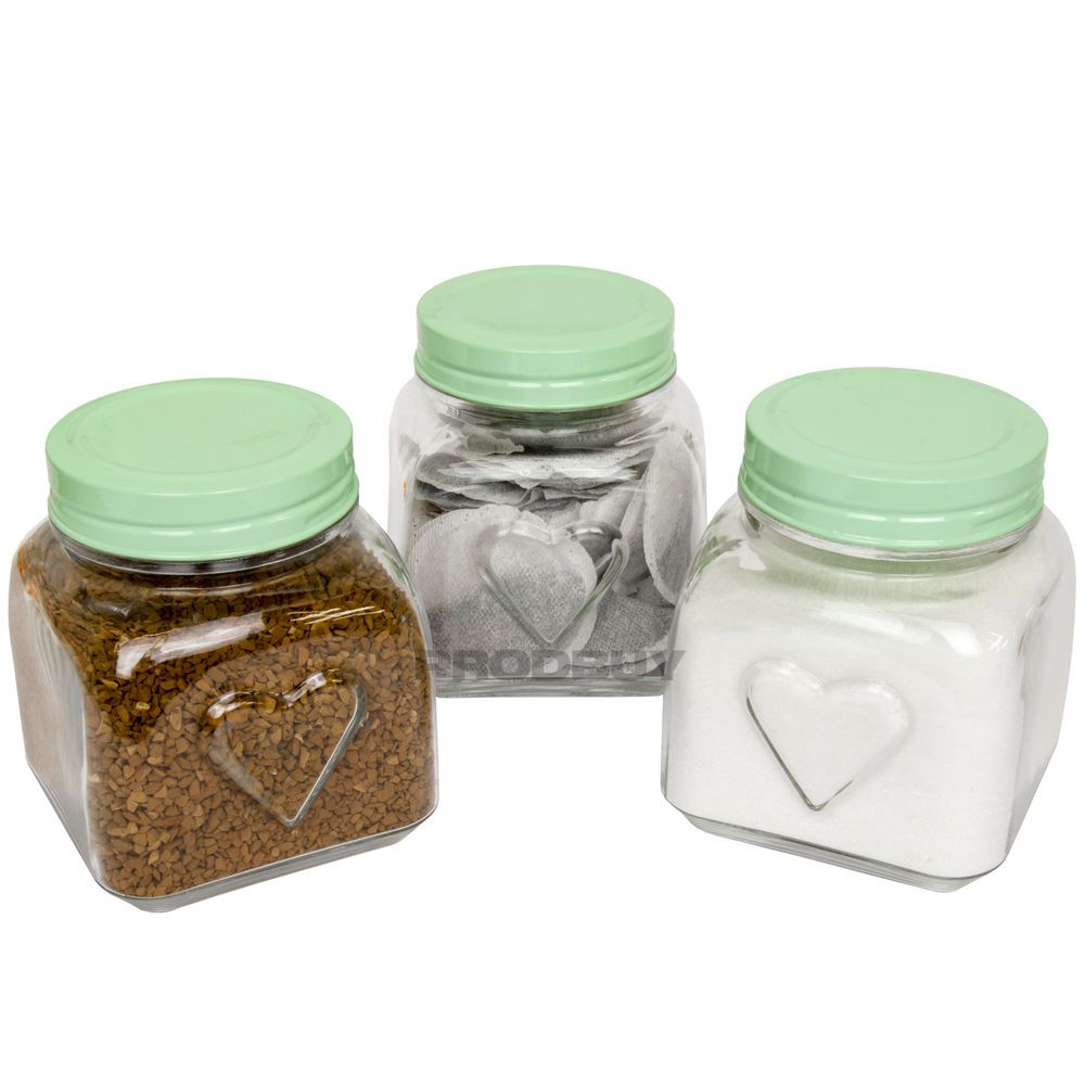 Set Of 3 Vintage Green Love Heart Gl Tea Coffee Sugar Storage Jars Canisters