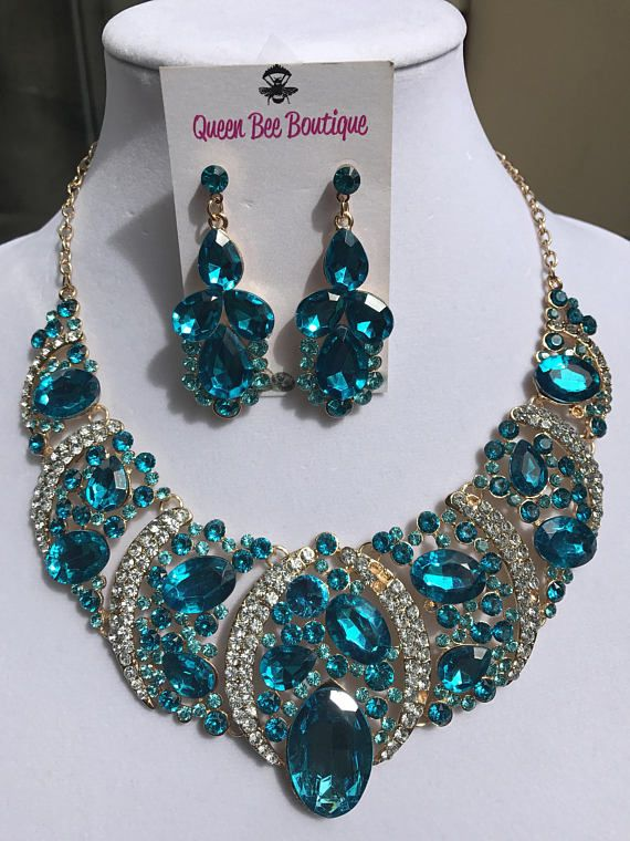 Aqua Statement Necklace Large Crystal Necklace Rhinestone Pageant Jewelry Necklace Earring Set