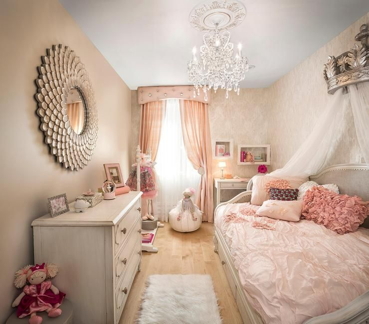 Pink And Gray French Nursery Features A Taupe Patterned Wall Lined