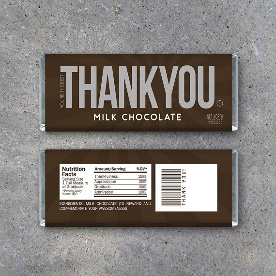 THANK YOU Candy Bar Wrappers – Printable Instant Download – Thank ...
