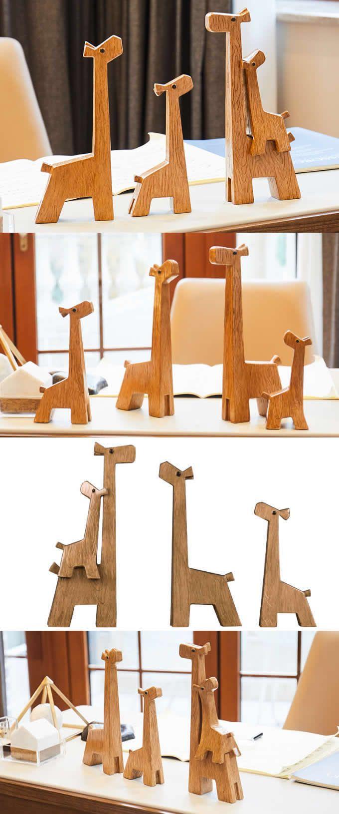 Simple Original Modern Wooden Animal Desktop Ornaments Handmade Wood Giraffe Figurine New Creative Home Decorations