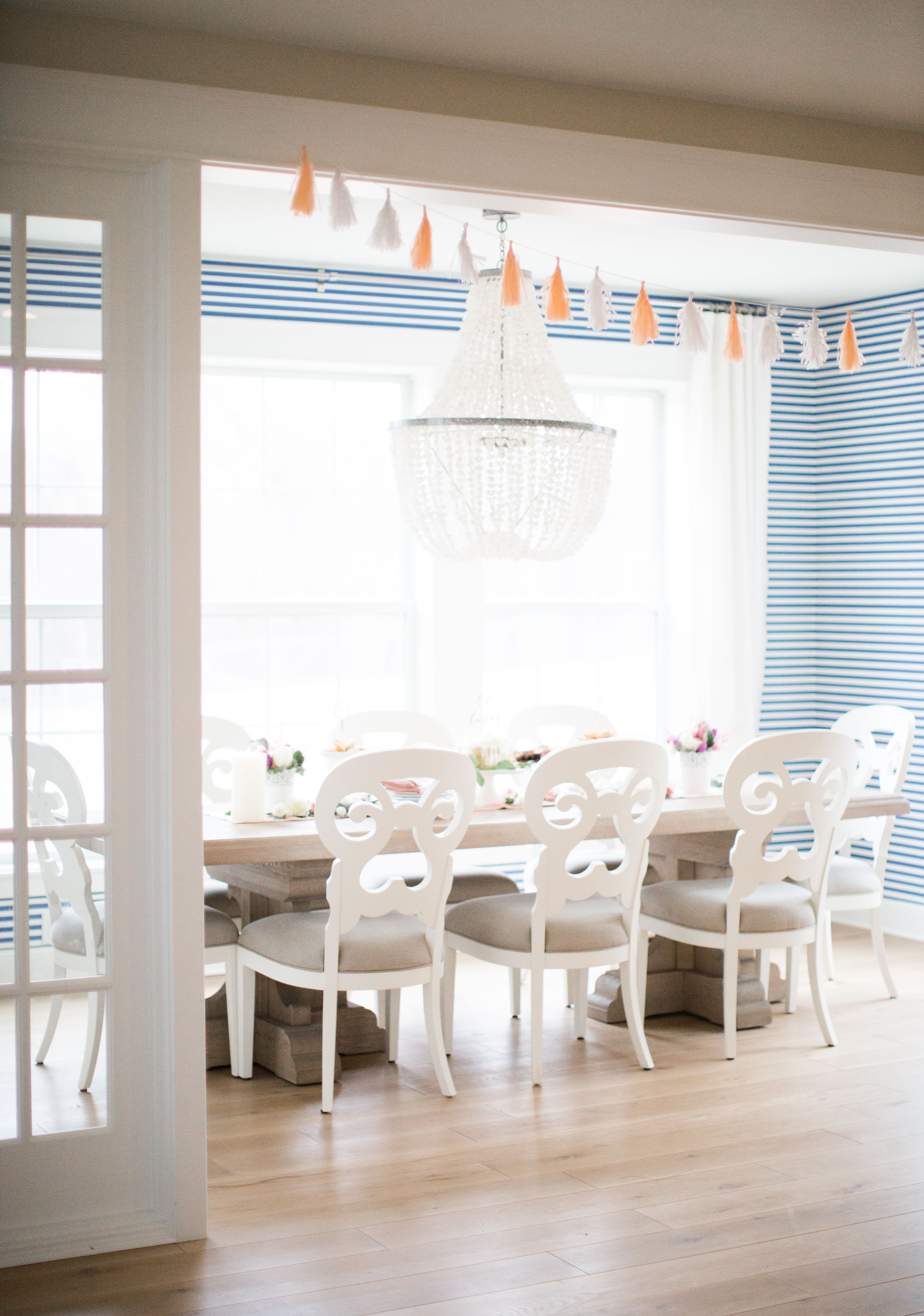 Blue And White Striped Wallpaper Dining Room Home Tour Bria Hammel Interiors