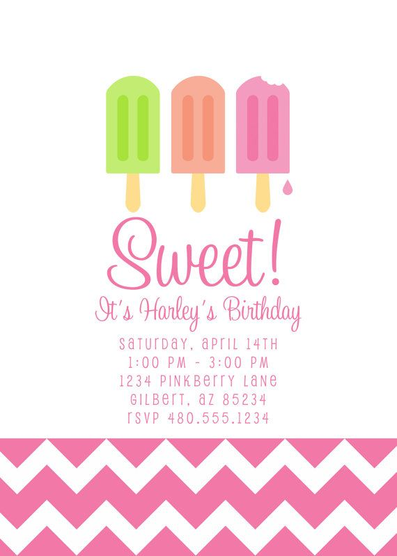 Party Printables Invitation - Popsicle Party Invitation Birthday or - fresh birthday party invitation designs