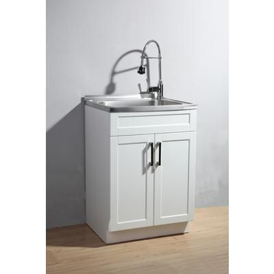 This Utility Laundry Sink with Cabinet includes a fully assembled vanity  with stainless steel sink  faucet with dual action spray plus a complete  plumbing. transform 25 in x 22 in White Cabinet Freestanding Stainless Steel