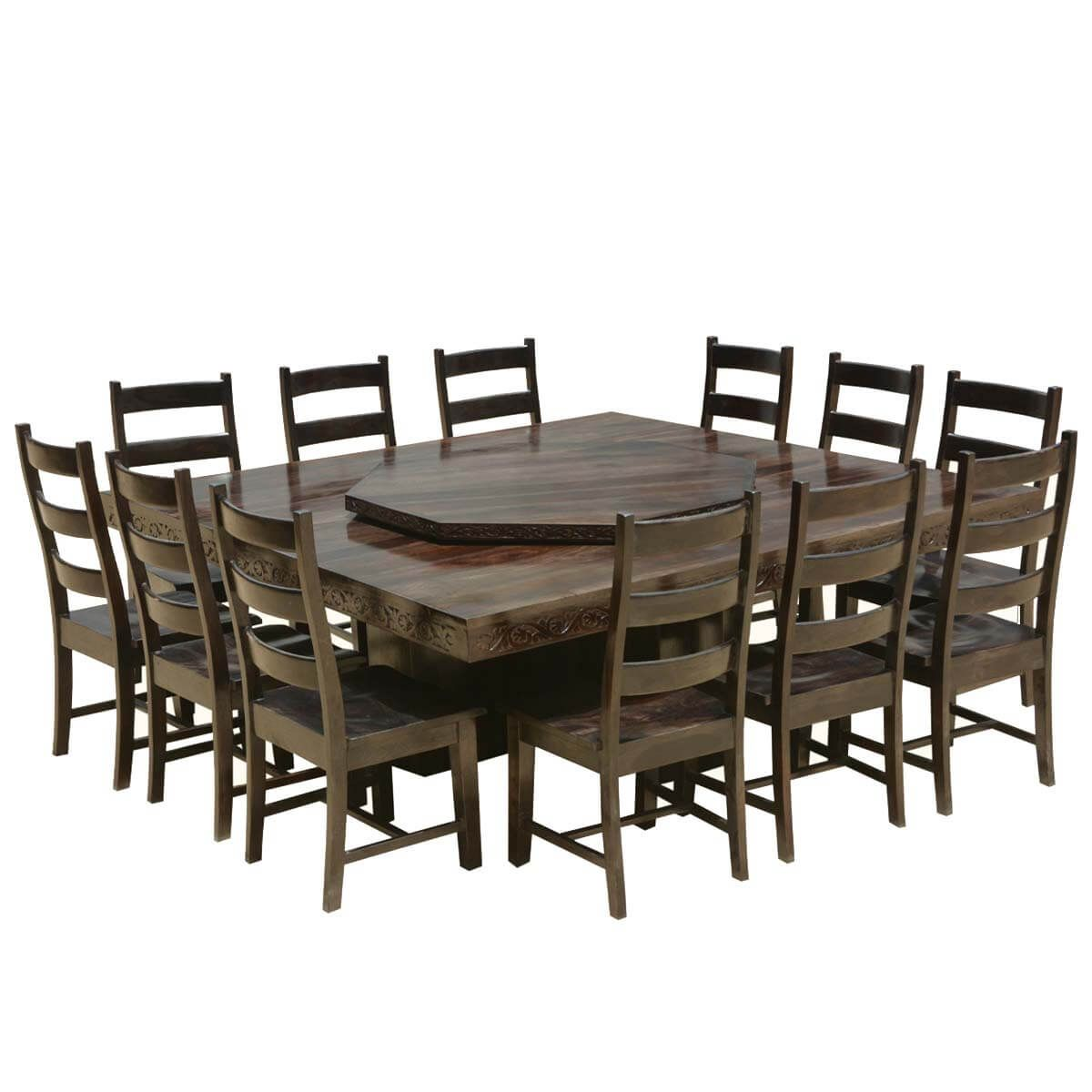 Modern Pioneer Solid Wood Lazy Susan Pedestal Dining Table Chair Set In 2021 Large Square Dining Table Large Dining Room Table Slab Dining Tables Lazy susans for dining tables