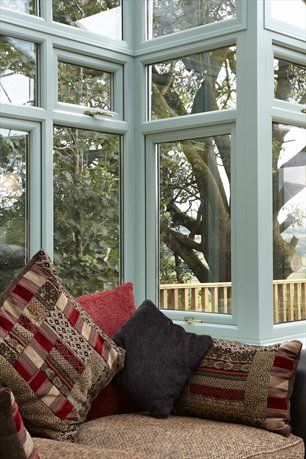 REHAU uPVC Conservatory in Chartwell Green (internal) from GRM Windows, South Wales.