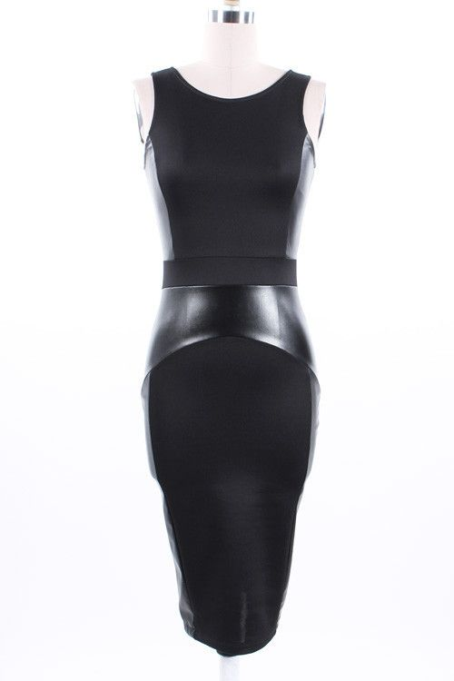 Sasha Mini Bodycon with Leather Inserts-Black