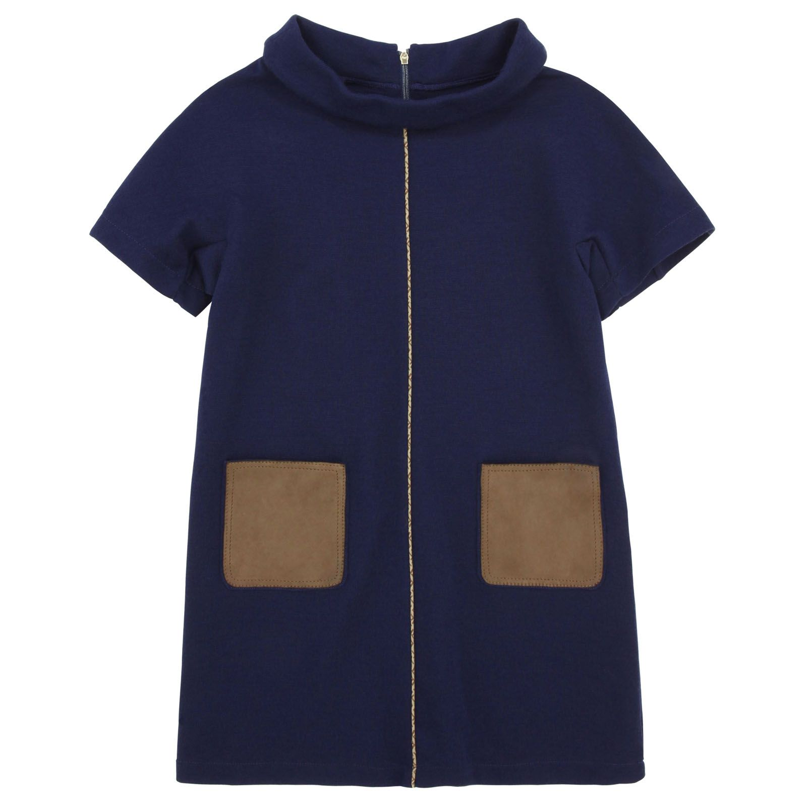 Navy blue dress made of soft and warm knit (with 50% wool). Short sleeves. Brown leather pockets. Piping down the front. Zip fastening at the back. - 269,88 €