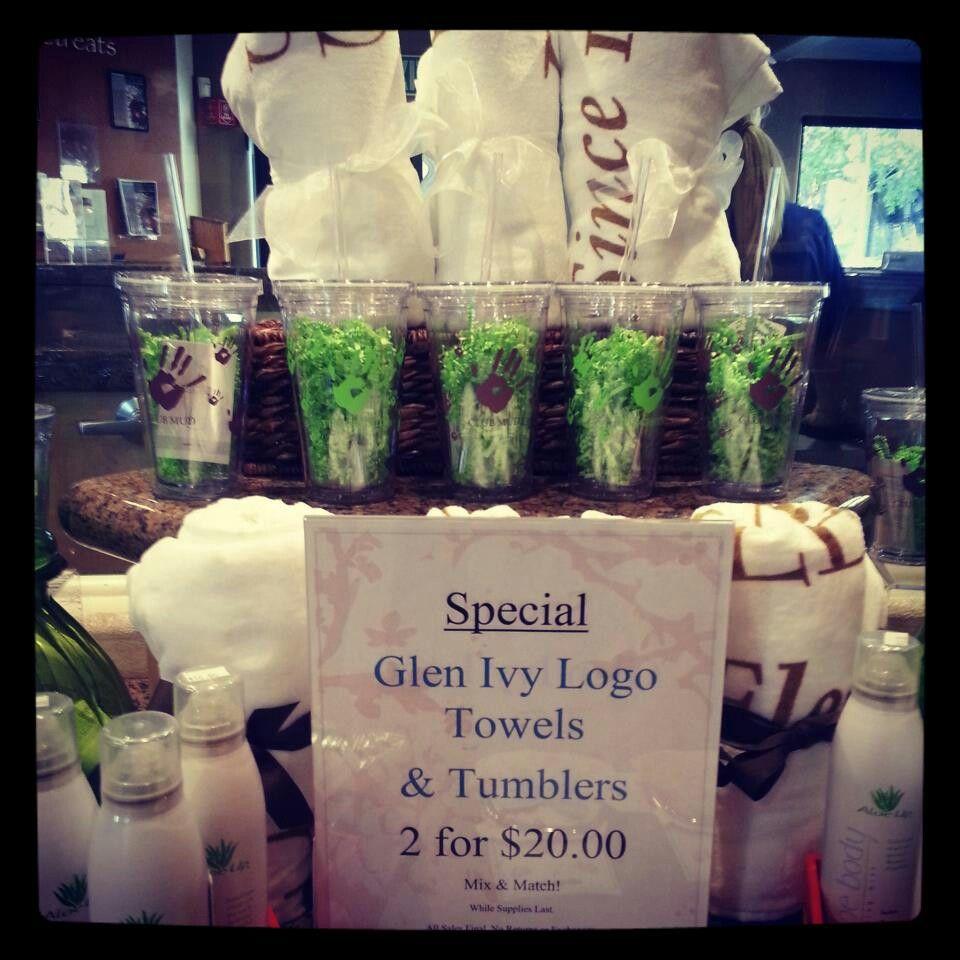 Glen ivy spa glen ivy logo towels table decorations