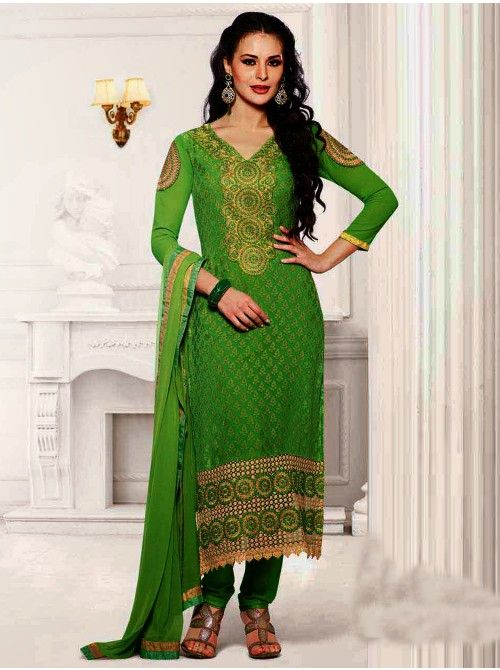 Buy Green Brasso Suit With Resham And Zari Embroidery Work Designer Charmi Collection Online In India - saree.com