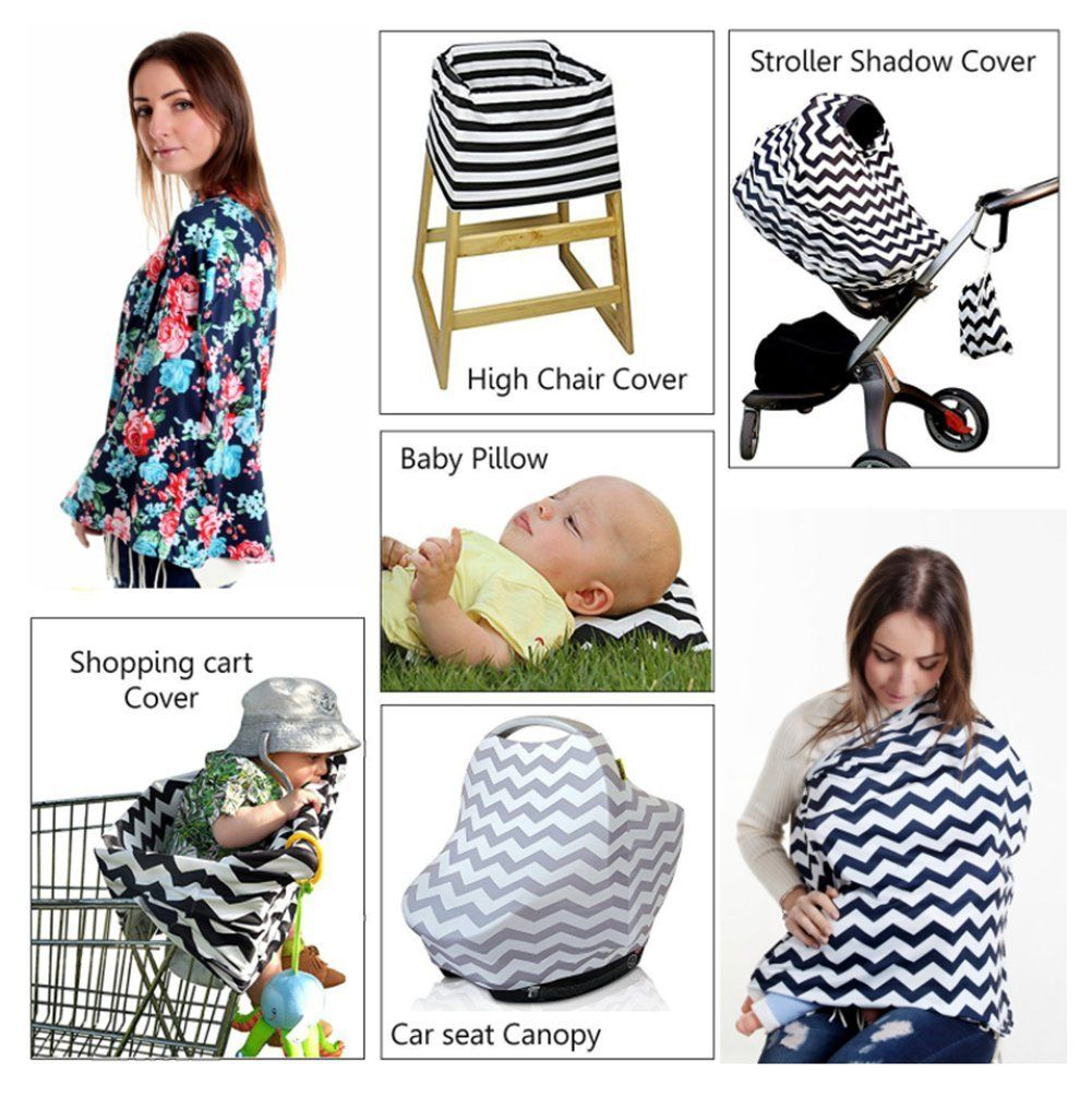 Nursing Stretchy and Soft Canopy Cover for Shopping Cart Baby Car Seat Cover Stroller with Free Bandana Bibs for Boys and Girls Fabric Breastfeeding Toddler Store High Chair