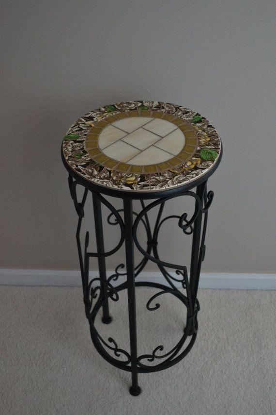 Broken China Mosaic Table Plant Stand Vintage Transfer Ware China