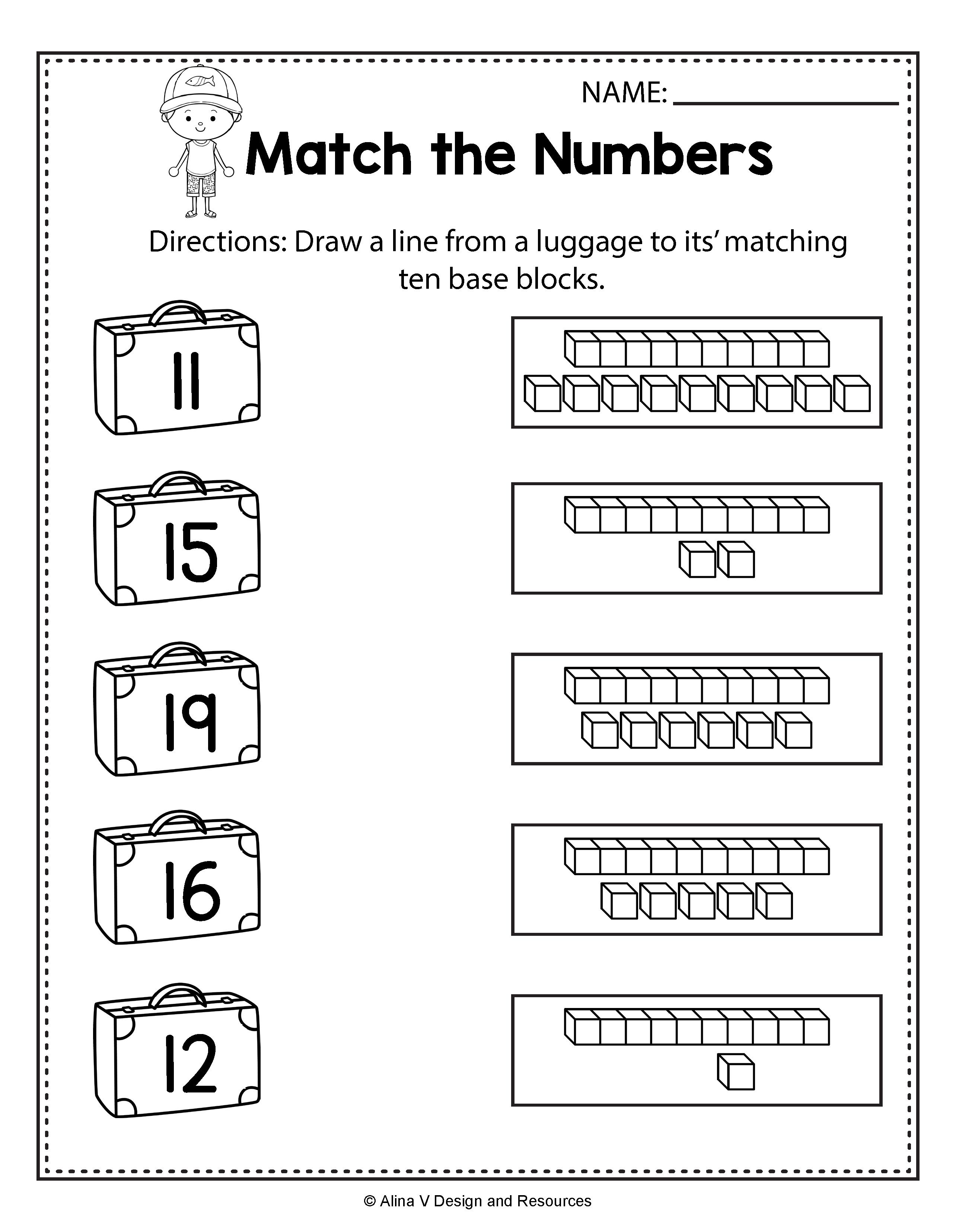 small resolution of End of Year Match the Numbers - Summer Math Worksheets and activities for  preschool