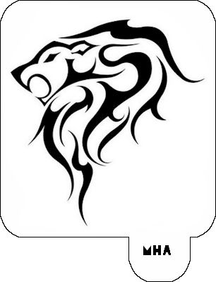hair art stencil - lion design