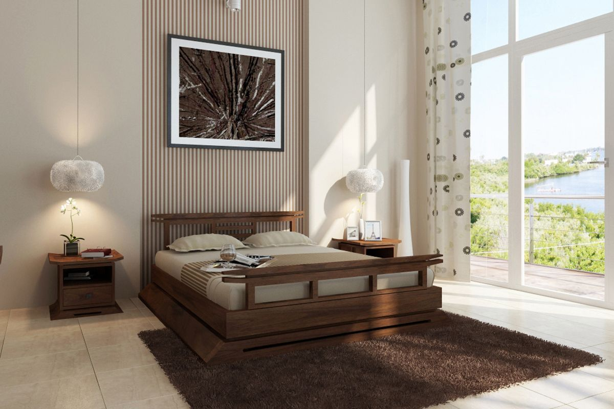 Kondo Teak Platform Bed Chambre Japonaise Cadre De Lit Japonais Meuble Contemporain
