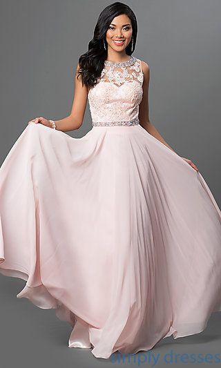 Dq 9281 Long Backless Lace Bodice Chiffon Prom Dress Lace Bodice