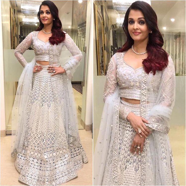 Aishwarya Rai White Net Embroidered Lehenga Choli Replica Online Shopping Bollywood Dress Dresses Fashion