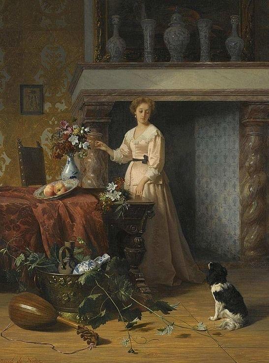 "David Emile Joseph De Noter (1818-1892) - ""Arranging flowers"""