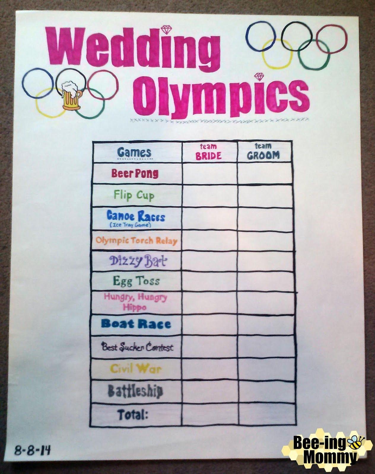 Wedding Olympics aka Beer Olympics Beer olympics party
