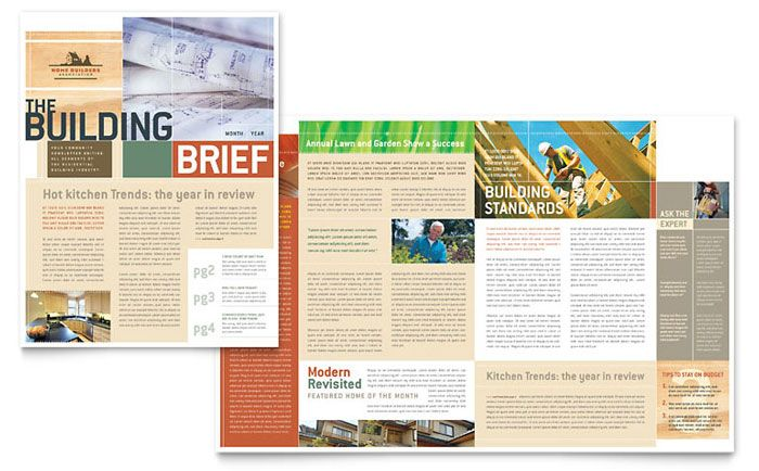 Home Builders and Construction Newsletter Design Template by - company newsletter