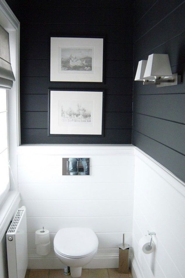 Small Bathrooms Dark Walls get the look: shiplap walls | dark walls, slate and fans