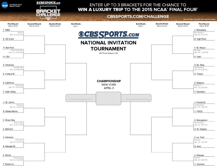 photo about Printable Nit Bracket identified as 2014 Mens NIT Bracket (Printable Boy or girl Things Printable