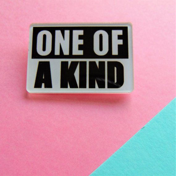 one of a kind acrylic pin monochrome typography word