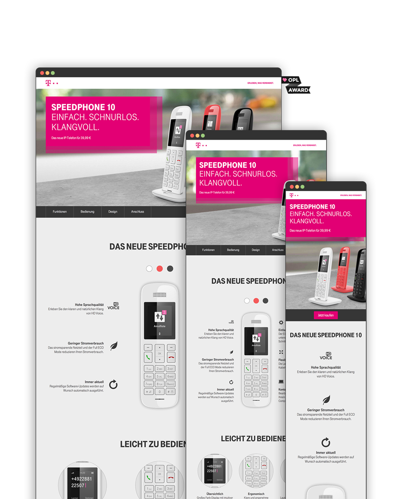 Screenshot of Speedphone 10 Landingpage on different Devices