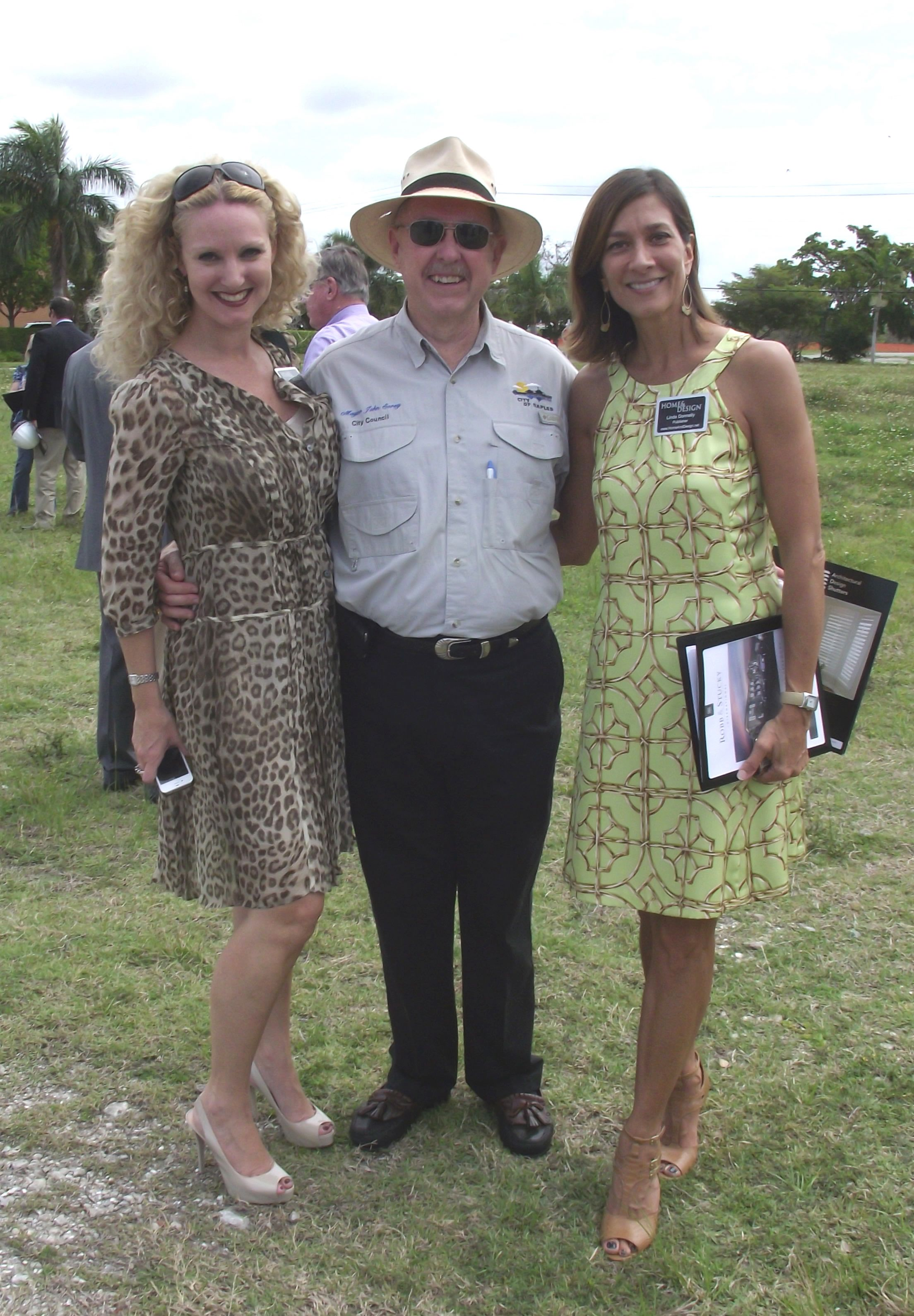 BREAKING GROUND | Home U0026 Design Magazine Editor In Chief Alisa Bowen, Mayor  John Sorey Of Naples, Florida And Publisher Linda Luongo Donnelly At The  Naples ...