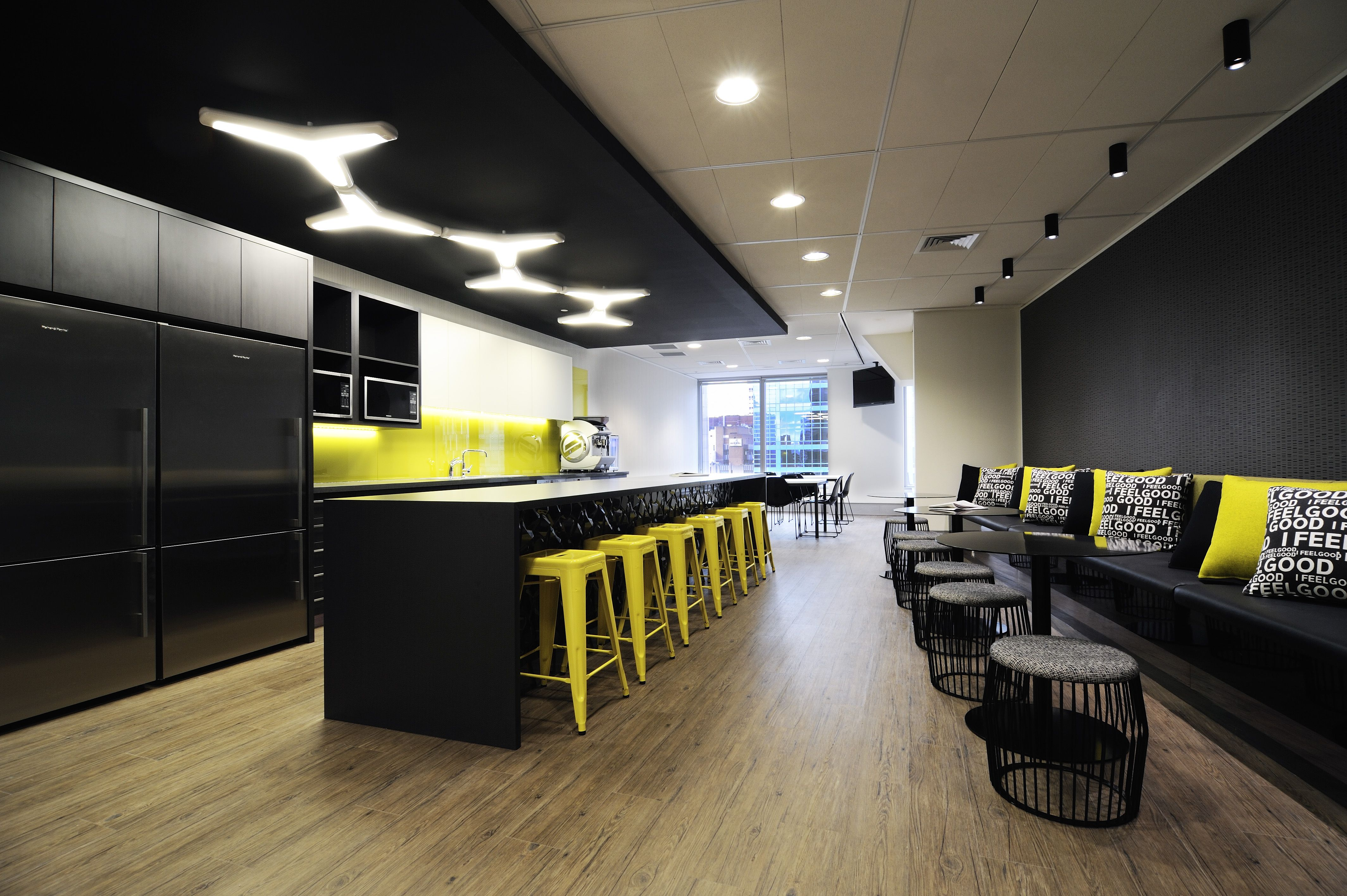 Staff break room in mill 39 s oakley 39 s new sydney office for Lounge area decor ideas