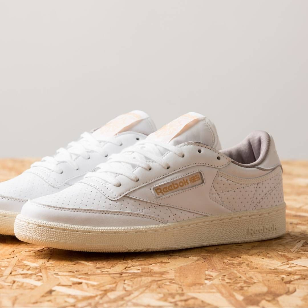 ada491e89430ea ...  Reebok Club C 85 Perforated Trainer in White   Beach Stone   Chalk is  a spring   summer essential. www.drome.co.uk  DROME  Reebok  trainers   sneakers   ...