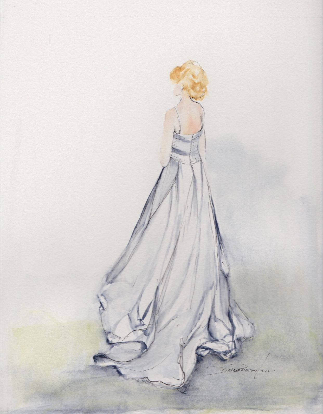 Bride In Her Gown Watercolor Painting Dianebronstein Com With